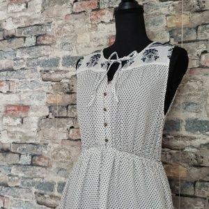 NEW LUCKY BRAND White & Blue Maxi Dress Medium